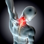3D render of a medical  neck in pain